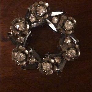 Obsidian & crystal vintage broach